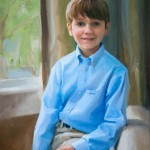 Oil portrait of a boy in blue