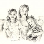 Charcoal portrait of a family of mother and two girls.