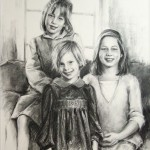 Portrait of three girls in charcoal medium on paper.