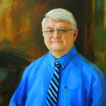 Oil portrait of man in blue shirt and tie.