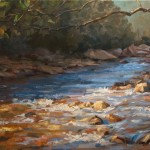 Painting of stream in sun and shade.