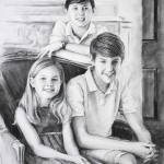 Charcoal portrait of three children - brothers and sister.