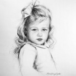 Charcoal portrait of a little girl