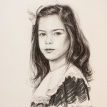 Charcoal drawing of a young girl, Katherine.