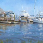 Oil painting of boats at a marina with rusty metal and Coke machine.