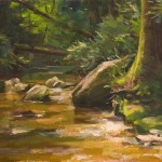 Painting of Georgia stream, forest and rocks.