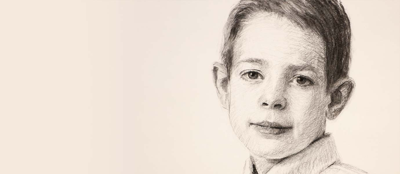 Fine art charcoal portrait of a boy.