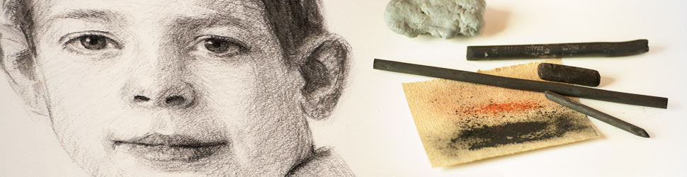 Image of charcoal portrait with charcoal, sandpaper and eraser.